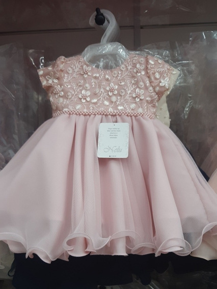 Vestido Rosa Princesa Bebê Batismo Festa Casamento P M G
