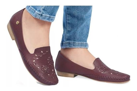 Zapatos Flats Mocasines Dama Mujer Vino Comodos Piel Tintos
