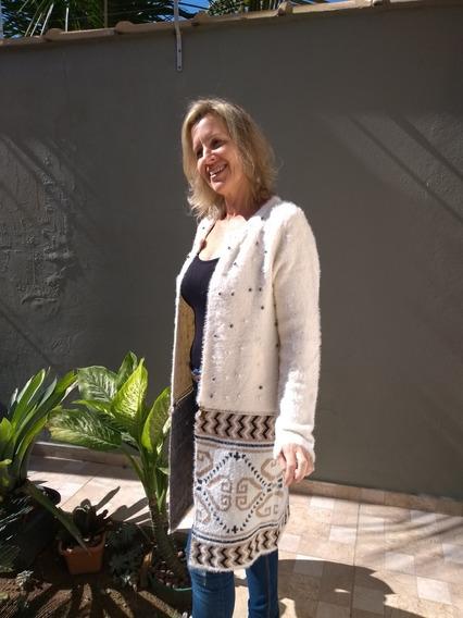 Casaco Felpudo Com Pérolas Luxo Sobretudo Ocasiões Especiai