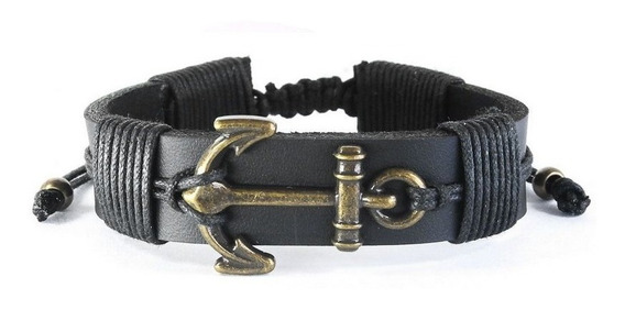 Pulseira Masculina Bracelete Couro Com Ajuste - Âncora