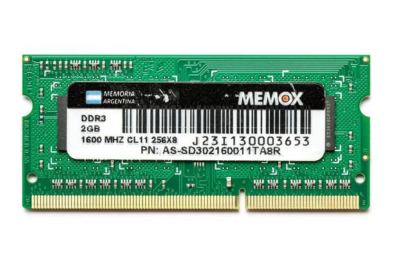 Memoria Ram Sodimm Memox Ddr3 2gb 1600mhz - Mejor Precio!