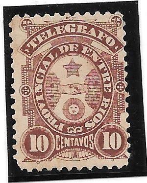 Estampilla Telegrafo Entre Rios Año 1898 10 Centavos Nueva