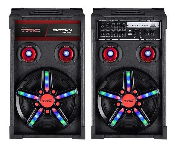 Caixa Acústica Amplificada Trc Usb Fm Bluetooth 300w Trc 362