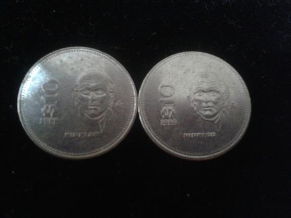Lote De 2 Monedas De 10 Pesos De1988,89