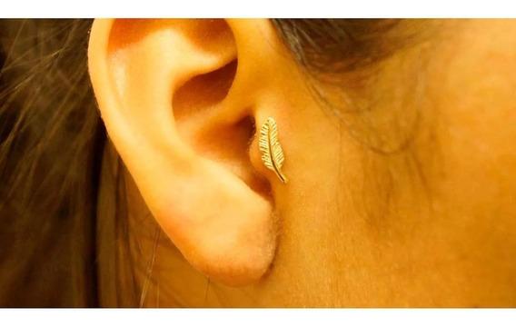 Piercing Tragus Ouro 18k Folha Pf0030