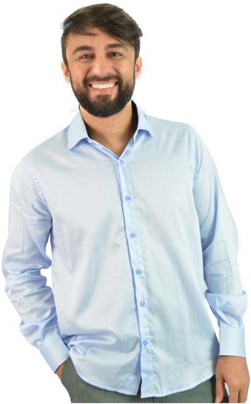 Camisa Social Masculina Azul Claro - Aproveite Já