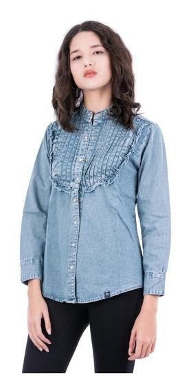 Camisa Jean Con Tablas - Mujer - Blue Air Jeans