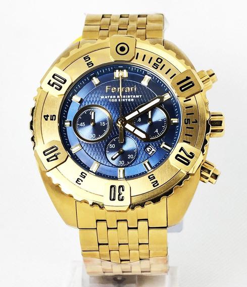 Relogio Ferrari Dourado Azul Com Cronografo Esportivo