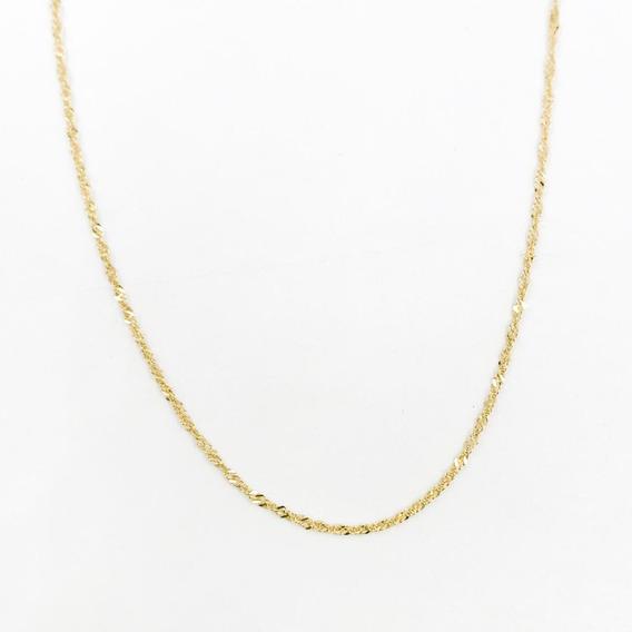 Cadena Singapur Oro 10k Sólido 50cm - 51cm De 1.2gr