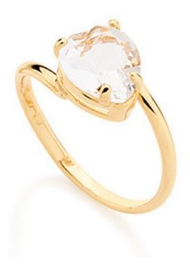 Anel Liso Rommanel Com Coração De Cristal 511598