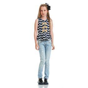 Blusa Acostamento Infantil Fashion Happy Waves Marinho