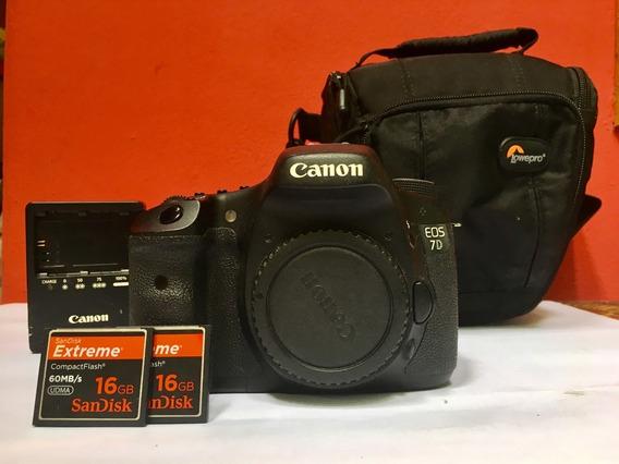 Canon 7d + 2 Cards Cf16gb + 1 Bateria + Carregador + Case