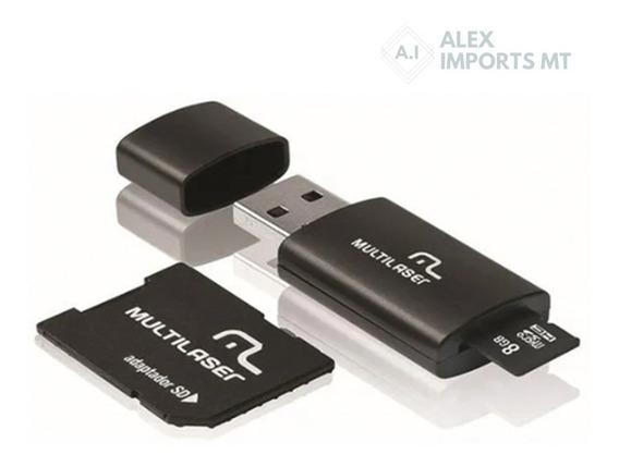 Cartão De Memória Multilaser 8 Gb Micro Sd+usb Com Adaptador