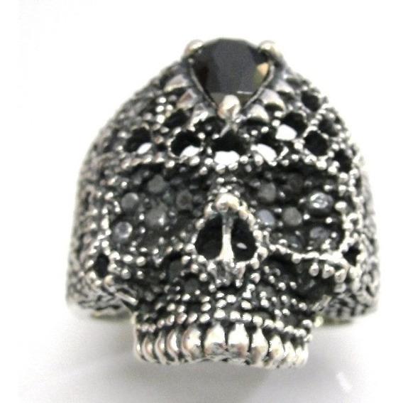 Anel Prata De Lei 950 Cranio Skull Caveira Com Pedra Onix