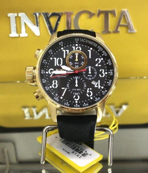 Relógio Invicta 1515 I Force Original Couro Banhado Ouro 18k