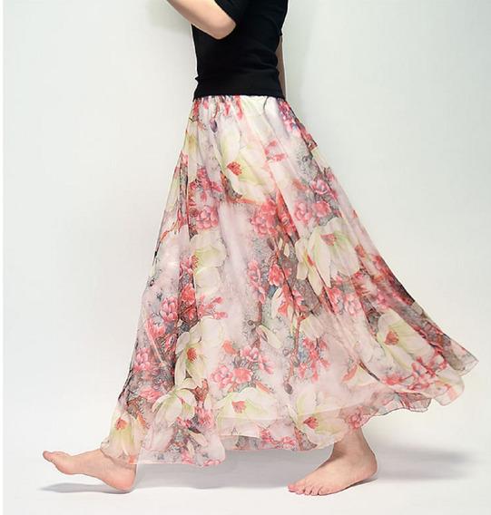 Lindissíma Saia Longa Importada De Chiffon Flowers Colorful