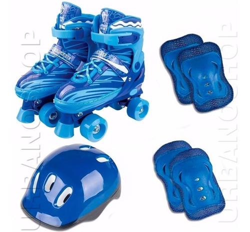 Imagem 1 de 3 de Patins 4 Rodas Clássico Azul Retrô Roller Skate + Acessórios