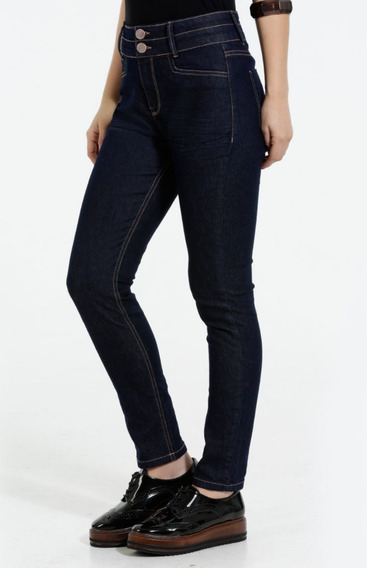 Calça Feminina Jeans Skinny Escuro Botões Rf.ma5aa4c! Nova