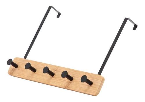 Imagen 1 de 2 de Perchero De Bambú Para Puertas Con 5 Ganchos De Metal