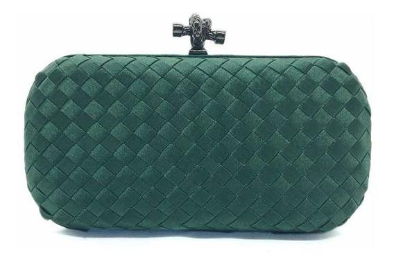 Bolsa Clutch Trançada Verde