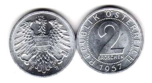 Moneda Austria Año 1957 2 Groschen Sin Circular Oferta!!!!!!