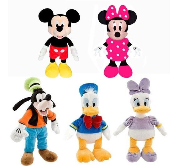 Kit Com 5 Pelucia Turma Do Mickey Mouse 28 Cm Antialergico