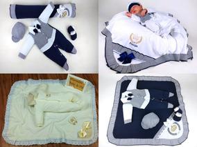 3 Kits Saida Maternidade Bebe Recem Nascido Total 8 Peças
