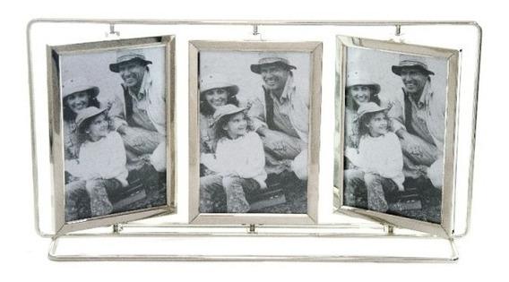 Porta Retrato Giratório Horizontal Inox Vidro 6 Fotos Sxk-55