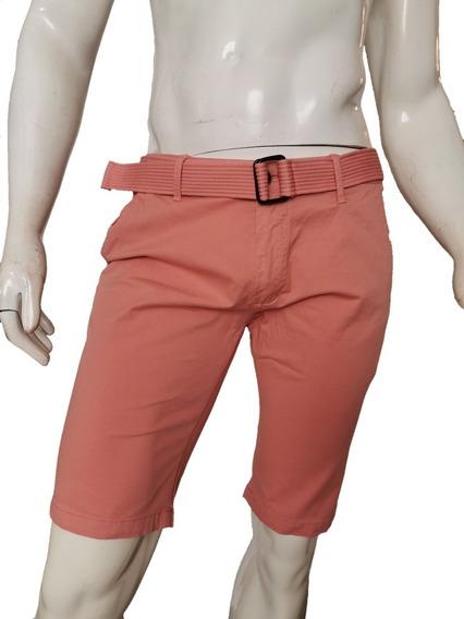 Bermuda Gabardina Hombre Moda Casual Short Premium Con Cinta