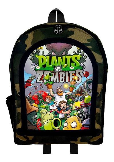 Mochila Infantil Camuflada Plantas Vs Zombies 3 Givan