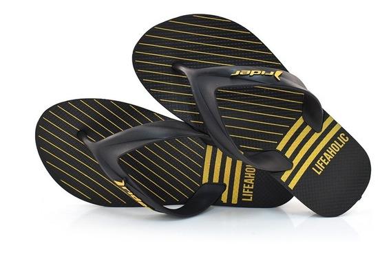 Chinelo Rider Strike Graphics Cor Preto/amarelo