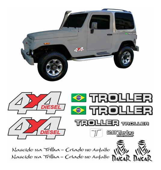 Kit Adesivos Emblema Troller T4 4x4 Diesel 2.8 Turbo Intercooler 2004 Completo Carro Prata Trl034