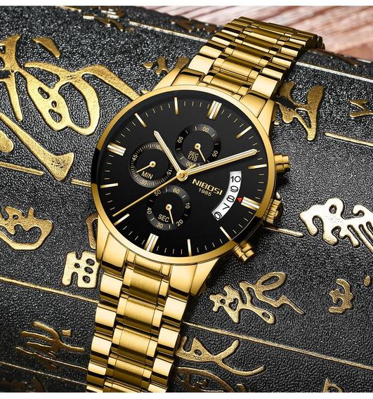 Relógio Original Nibosi Dourado 2309 Prova D1água Anti Risco