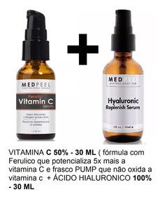 Hialurônico Puro 30ml + Vitamina C50 Com Sérum Ferulico 30ml