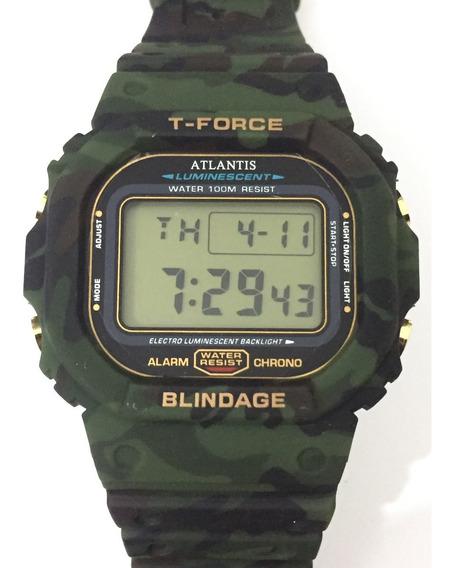 Relogio Atlantis T-force Camuflado 7305a Grande Verde