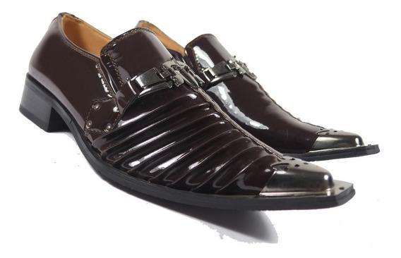 Punta Metalica Pliegues Priamo Italy Hombre Zapatos