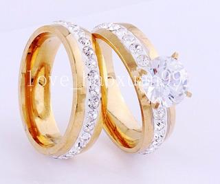 Par De Anillos Baño De Oro 18k Compromiso Boda O Matrimonio