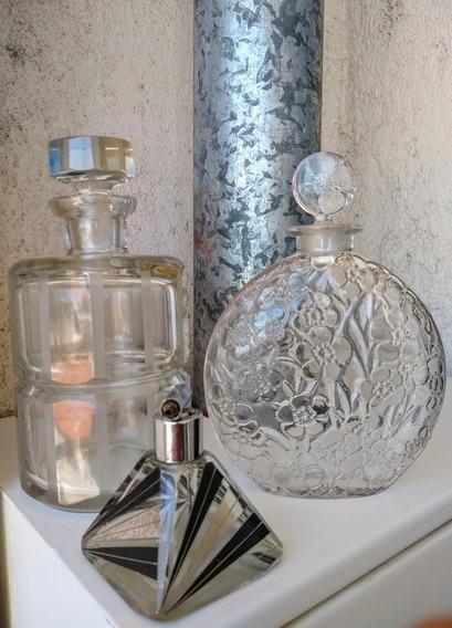 Antiguo Perfumero Cristal Checoslovaco Deco Esmalte Y Plata