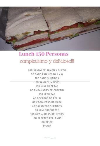 Lunch 130 Personas Variado ,economico, Delicioso !!!!$15500