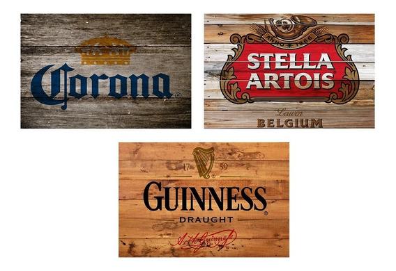 3 Quadros Madeira Rústico Cervejas Corona Stella E Guinness