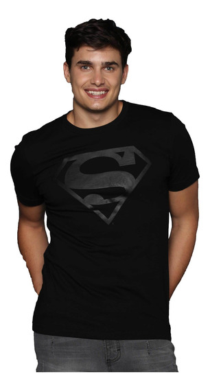 Playera Negra De Hombre Estampada Superheroes Logo Superman