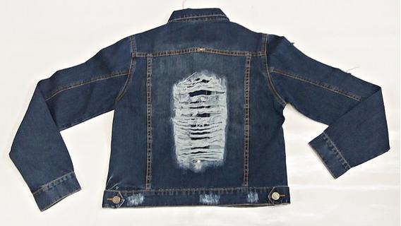 Jaqueta Jeans Feminina Premium Destroyed Escura Casual Slim