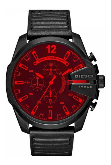 Relógio Diesel Mega Chief Dz4460 Preto Vermelho Original Cx