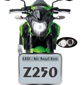 Kit Com 1 Angel Eyes Moto Kawazaki Z250sl Led Farol Drl