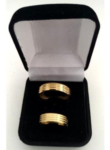 Par Aliança 6mm Banhado Ouro 18k Com Certificado E Garant