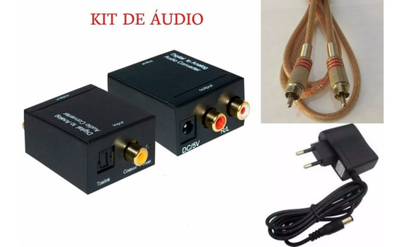 Kit Conversor De Audio Coaxial Digital + Cabo Coaxial + Rca
