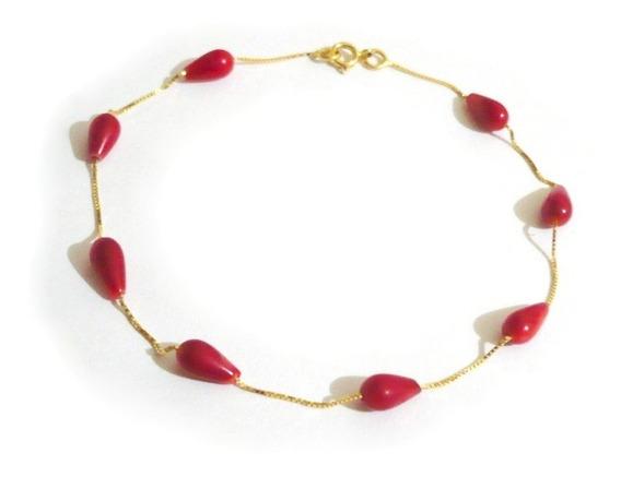 Pulseira Coral Vermelho Natural Ouro 18k 750 Adulto Infantil