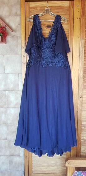 Vestido Azul Estela Cardaci Talle 48
