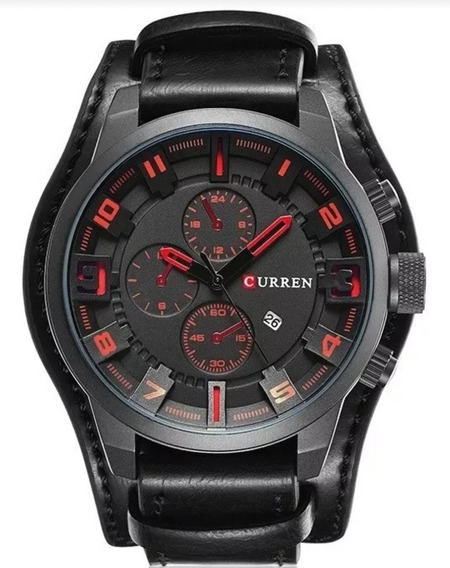 Relógio Curren 8225 Masculino Bracete Couro Promoção