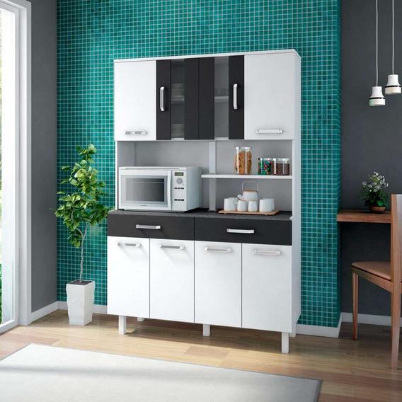 Cozinha Compacta Atenas 8 Pt 2 Gv Branca E Preta